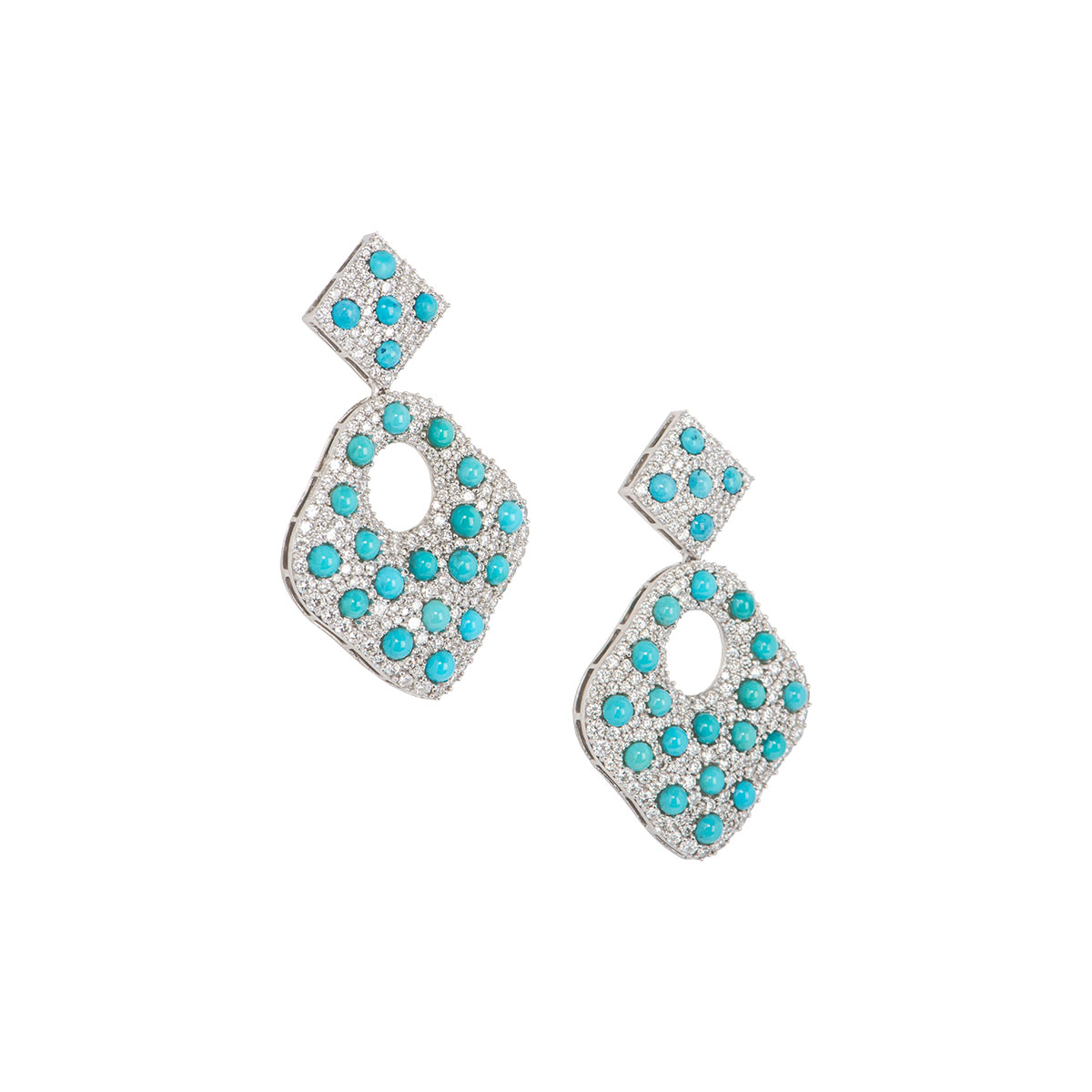 White Gold Diamond and Turquoise Drop Earrings